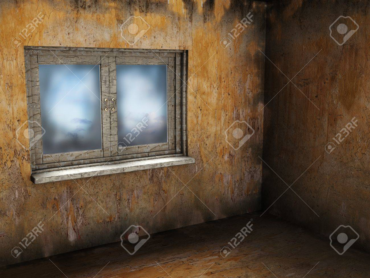 abstract 3d illustration of empty grunge room with window Stock Illustration - 9187224