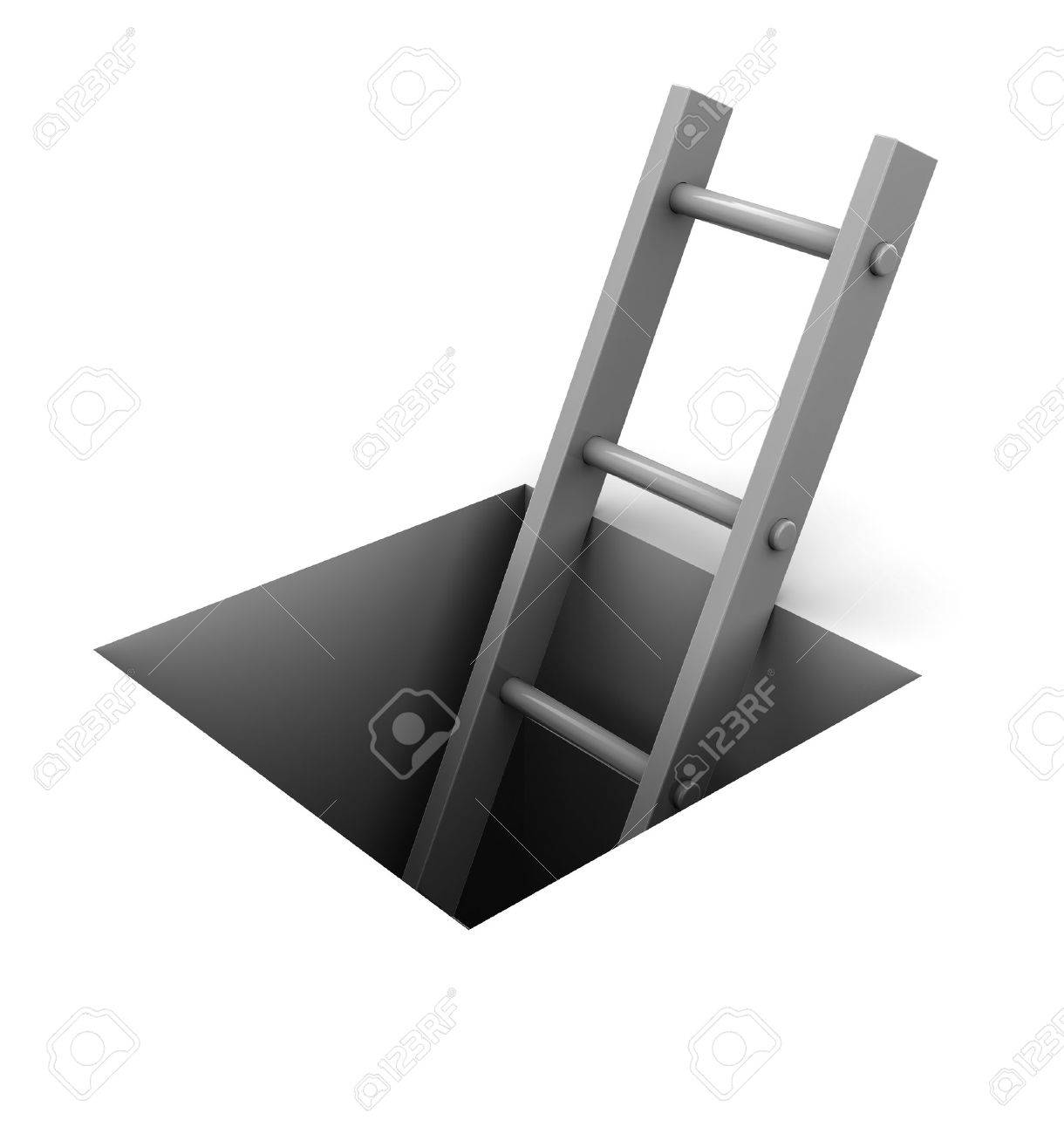 3d illustration of ladder in square hole over white background Stock Photo - 9351135