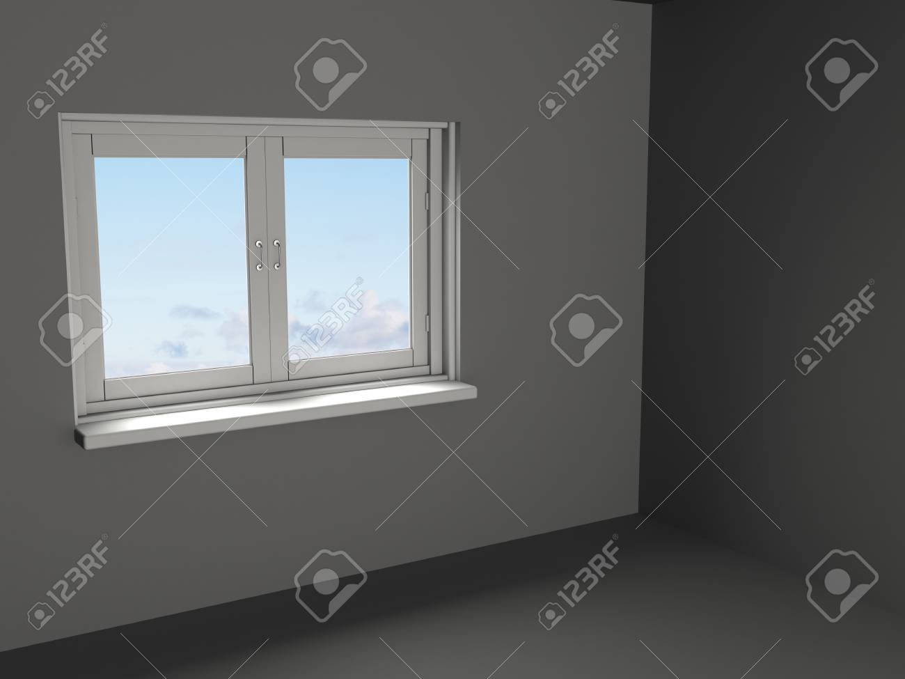 abstract 3d illustration of empty gray room template Stock Illustration - 9351213
