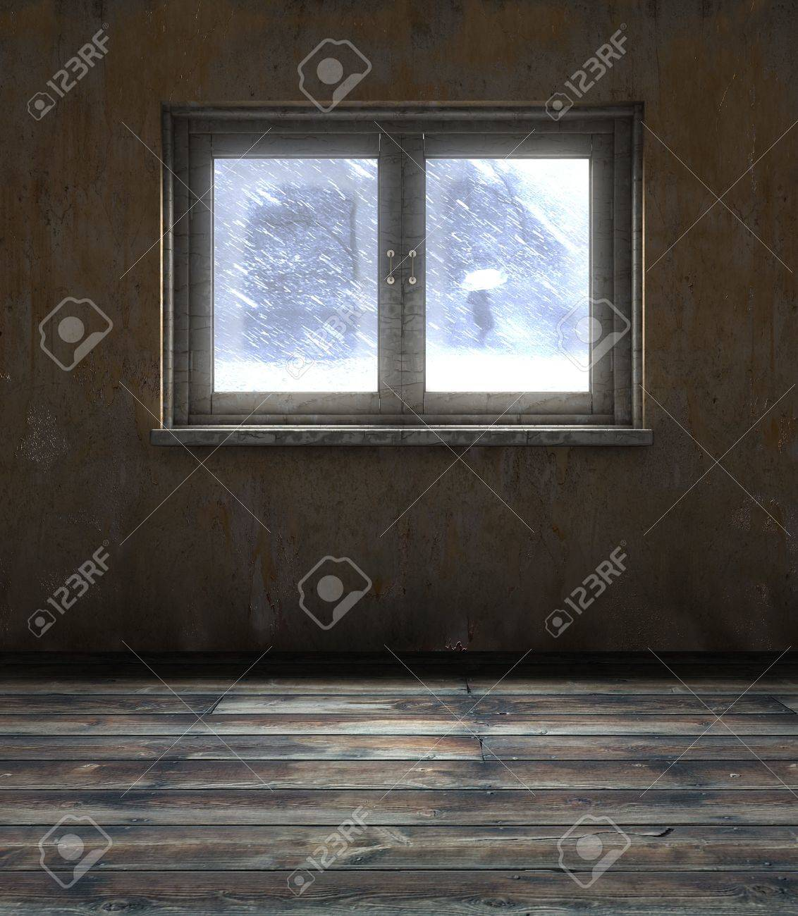 abstract 3d illustration of old room window Stock Photo - 9351421