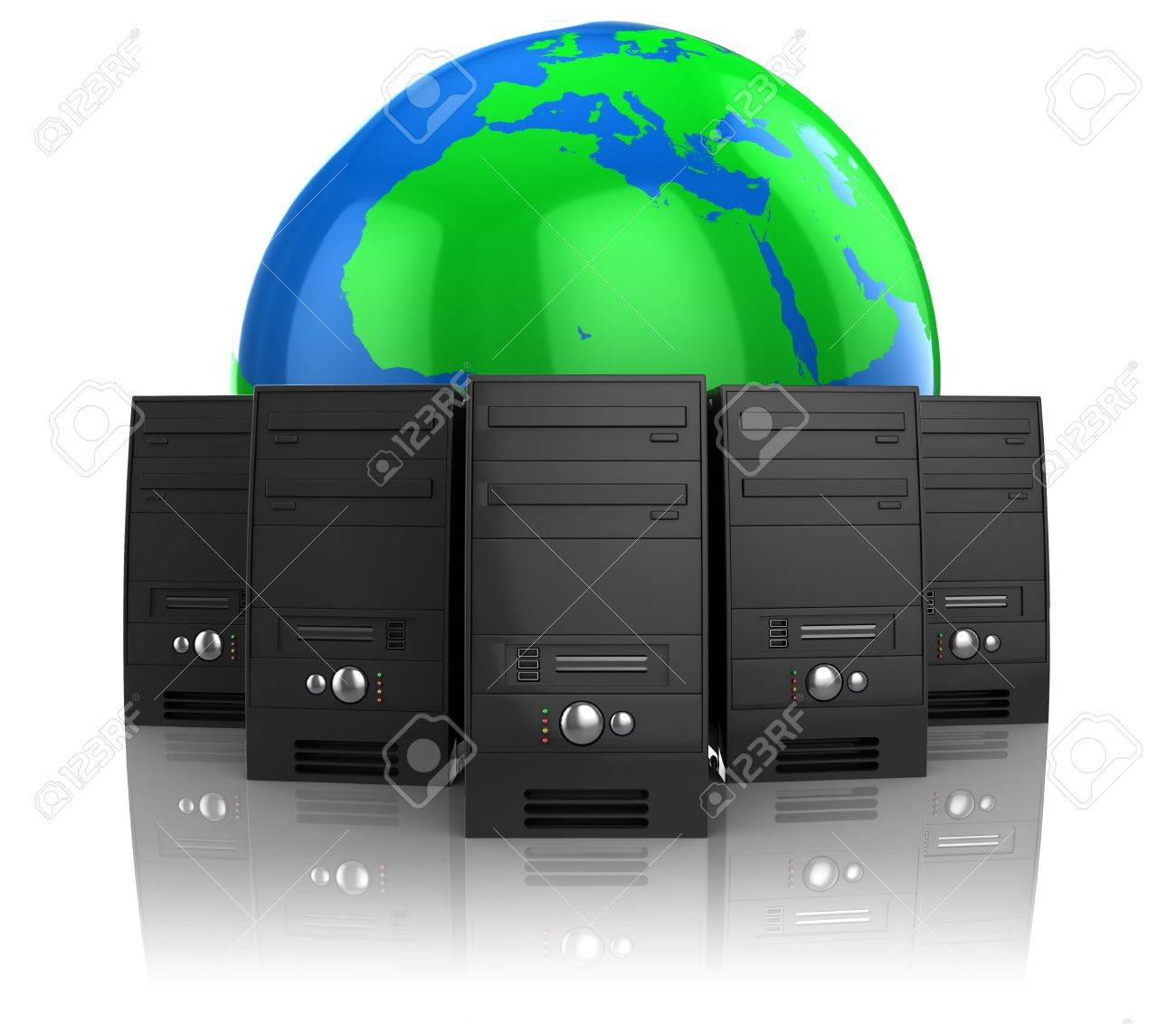 3d illustration of internet servers and earth globe, web hosting concept Stock Photo - 9518799