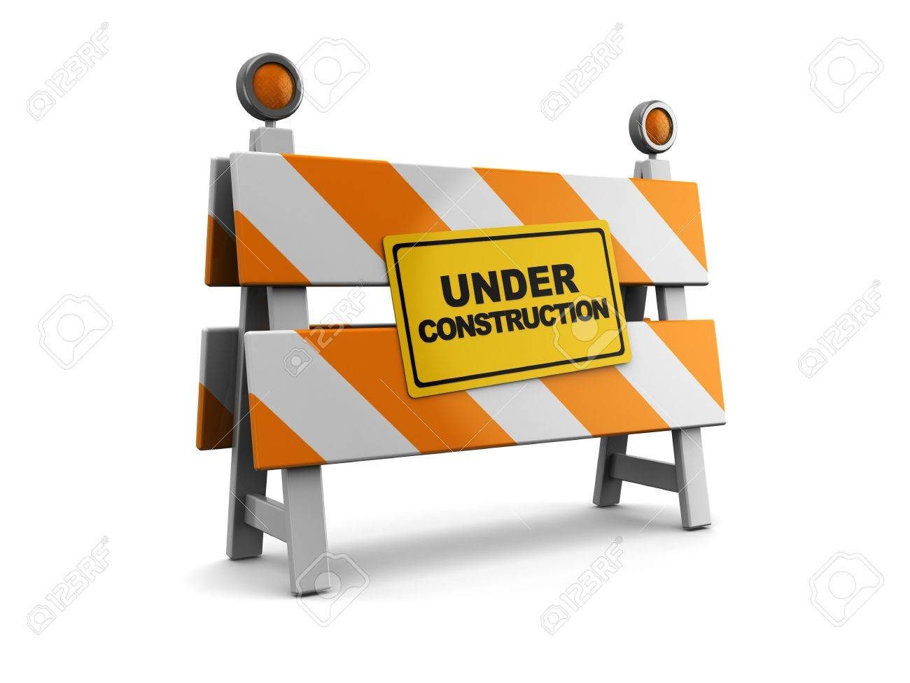 3d illustration of under construction barrier over white background Stock Illustration - 9518782