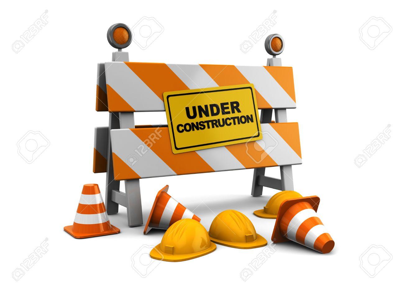 3d illustration of under construction barrier over white background Stock Illustration - 9732097