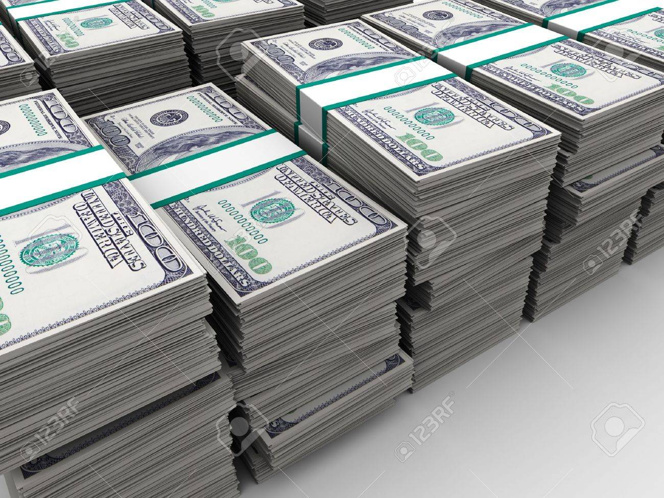 abstract 3d illustration of many dollars background Stock Photo - 9732144