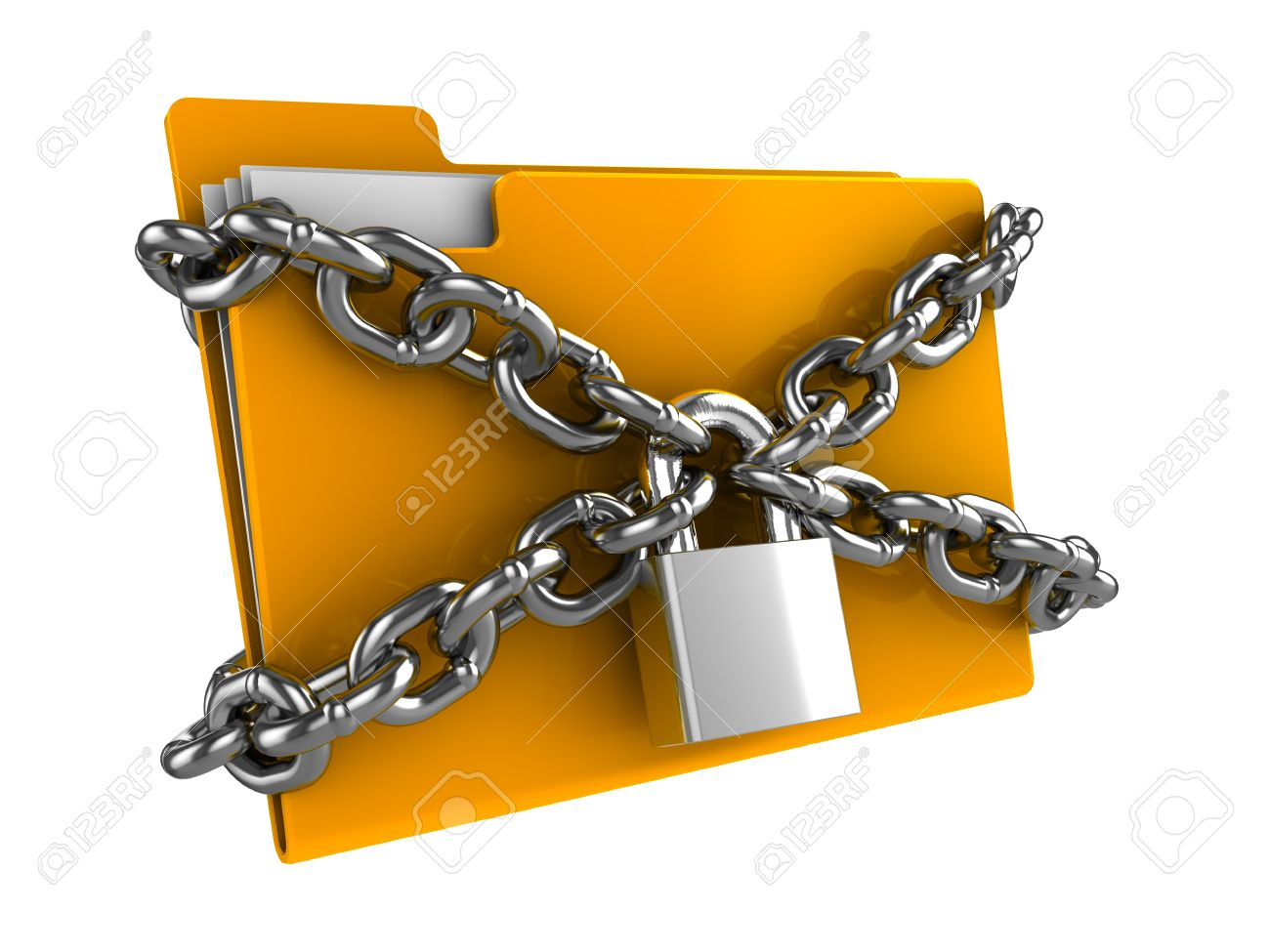 3d illustration of documetns folder locked by chains Stock Photo - 9972187