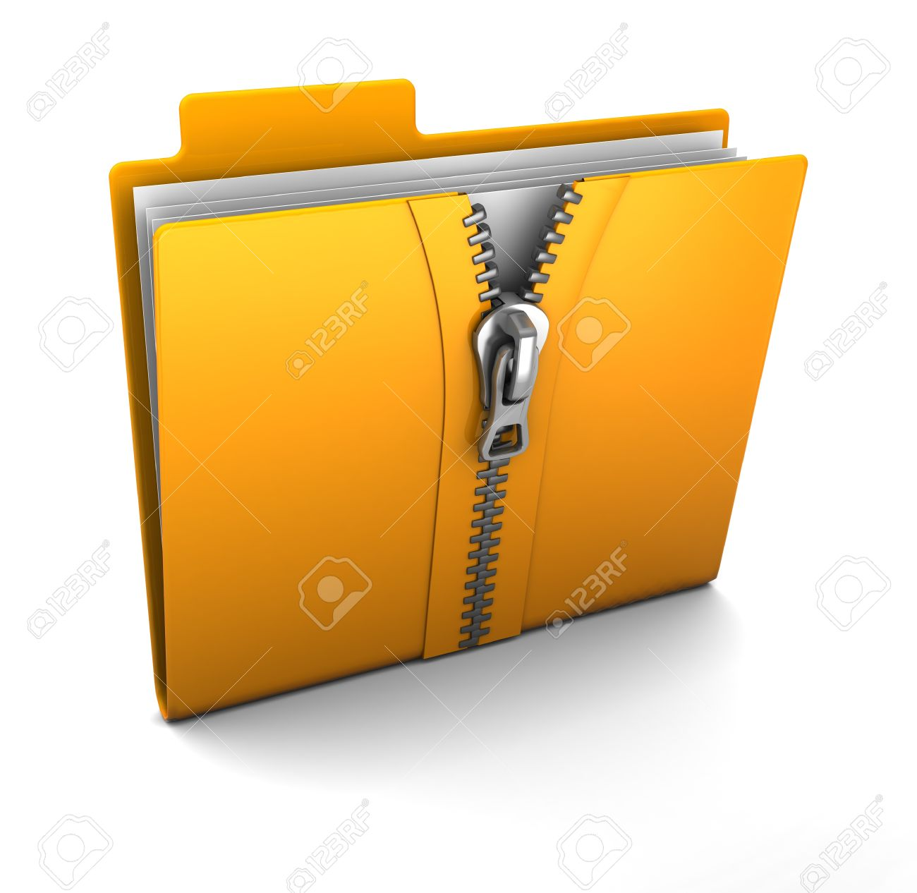 3d illustration of folder icon with zip, over white background Stock Photo - 10420630