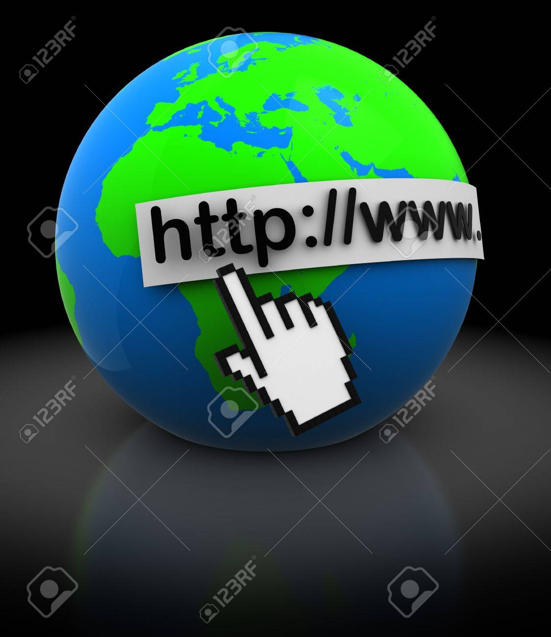 abstract 3d illustration of earth globe with mouse cursor, internet concept Stock Photo - 10490006
