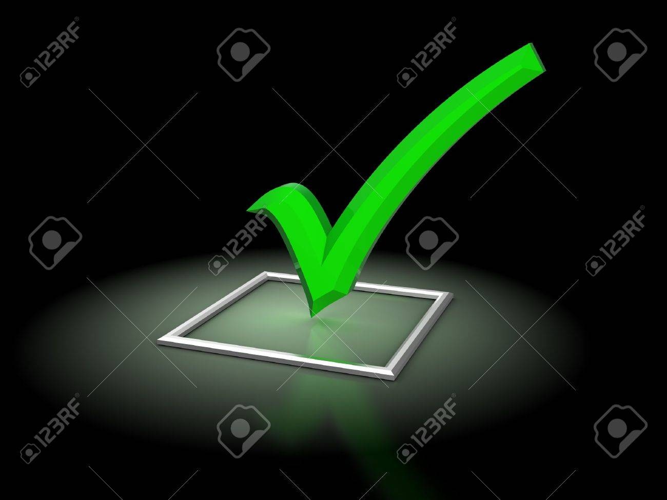 3d illustration of checkbox with glowing green tick, over black background Stock Illustration - 10490004