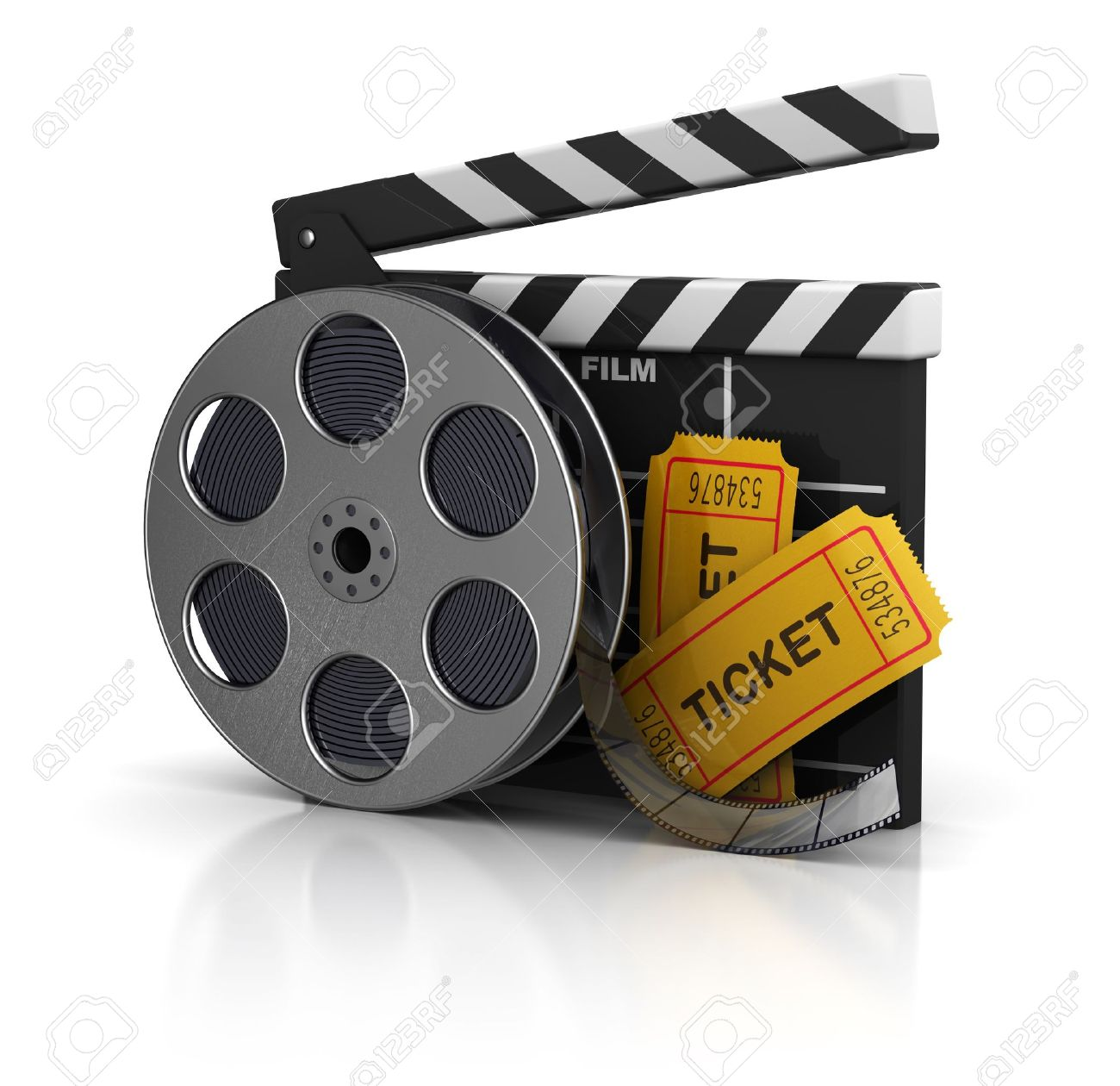 3d illustration of cinema clap, film reel and tickets, over white background Stock Illustration - 11413685