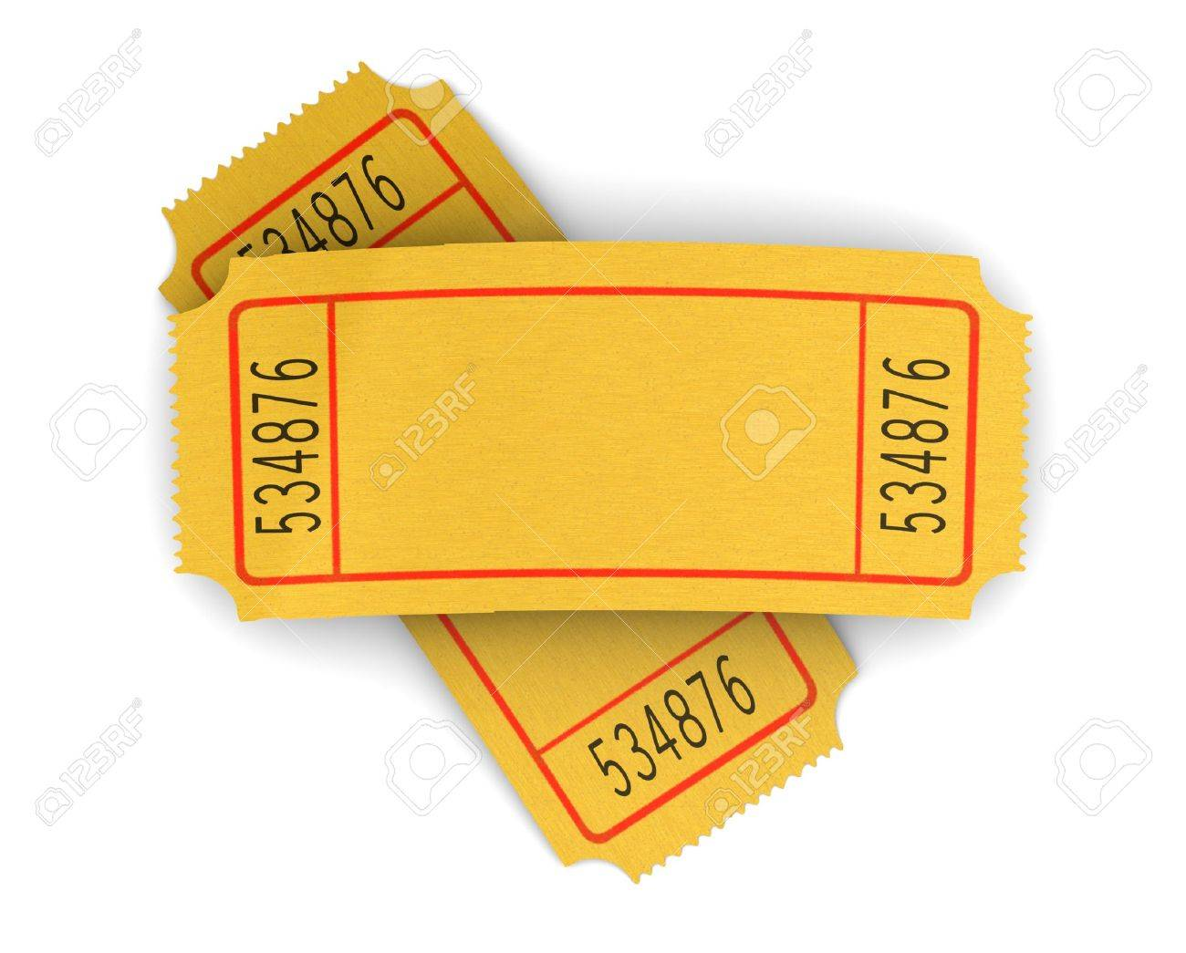3d illustration of two blank cinema tickets, over white background Stock Photo - 11413679