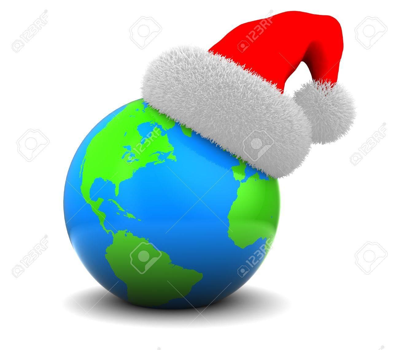 3D Darstellung Der Erde Globus Mit Weihnachtsmütze, über Weißem ...