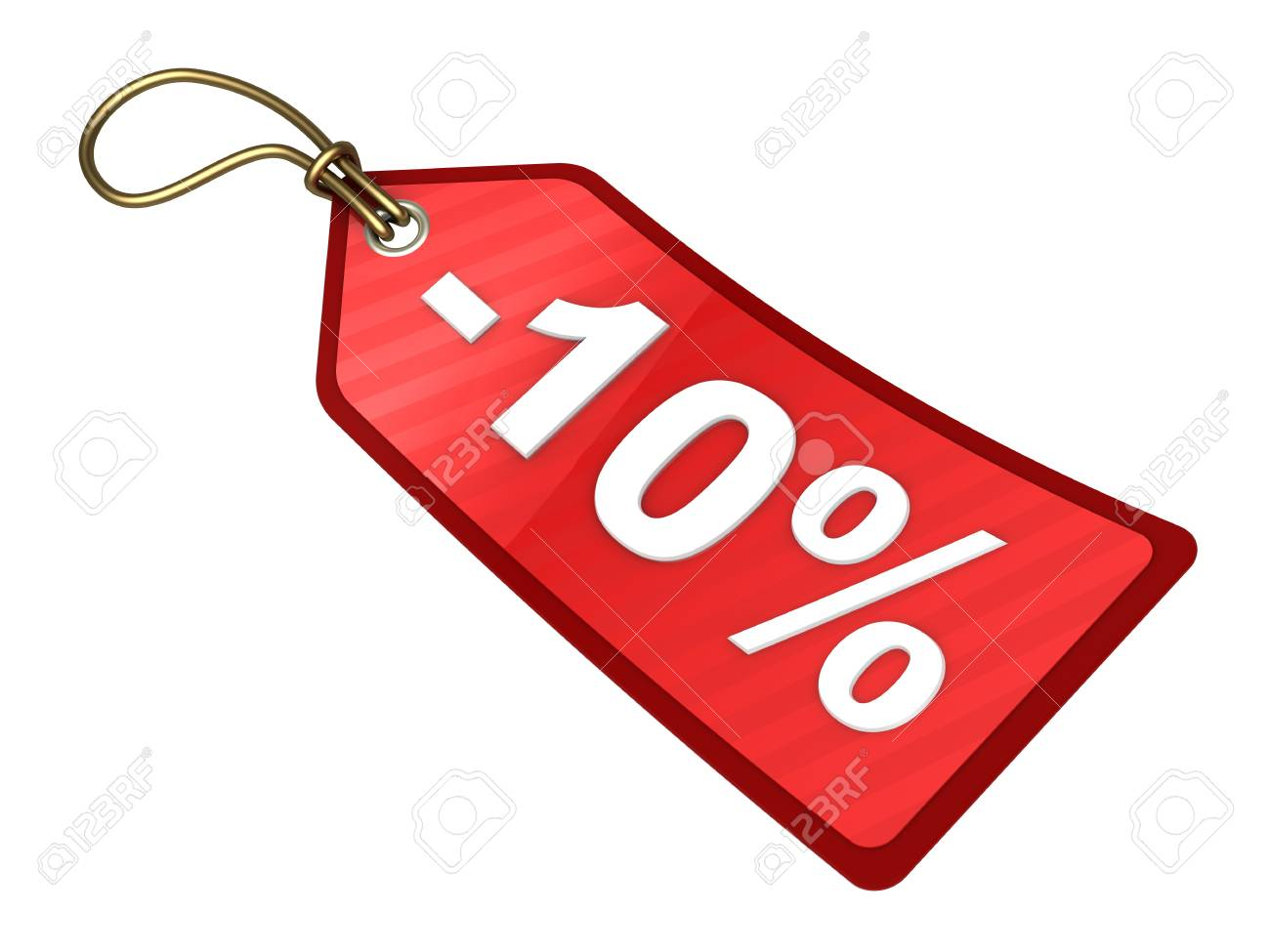 3d illustration of red tag with ten percent discount sign Stock Illustration - 11788008