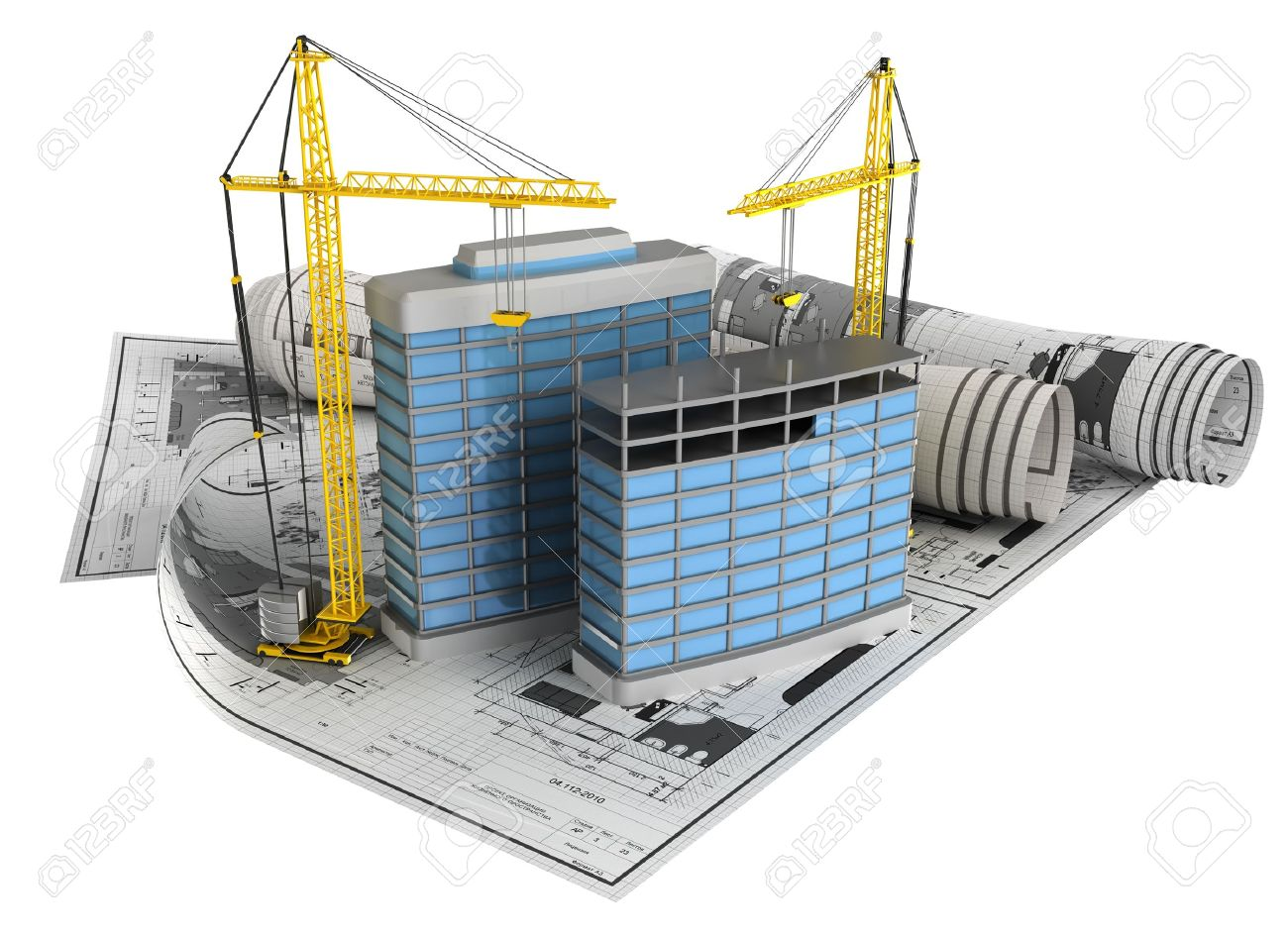 Plans measure 3d illustration of building construction concept isoalted icon over white background