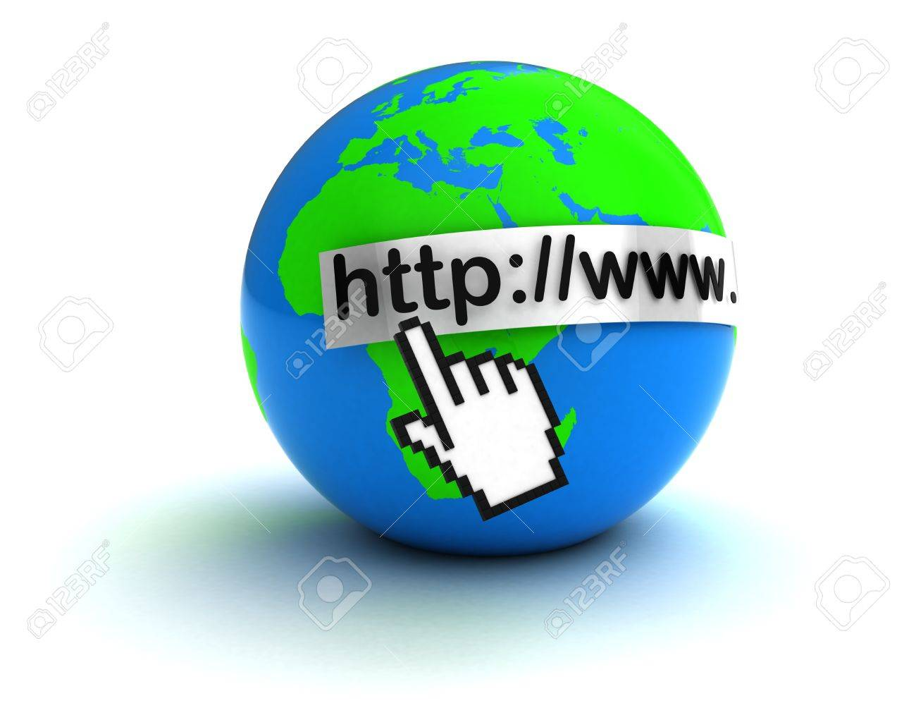 3d illustration of hand mouse cursor and earth globe, internet concept Stock Photo - 12752512