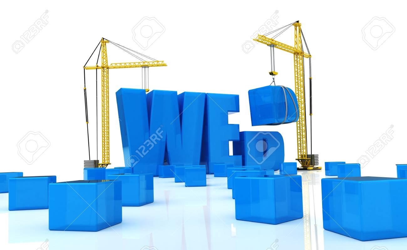 3d illustration of cranes building word Stock Photo - 12942521