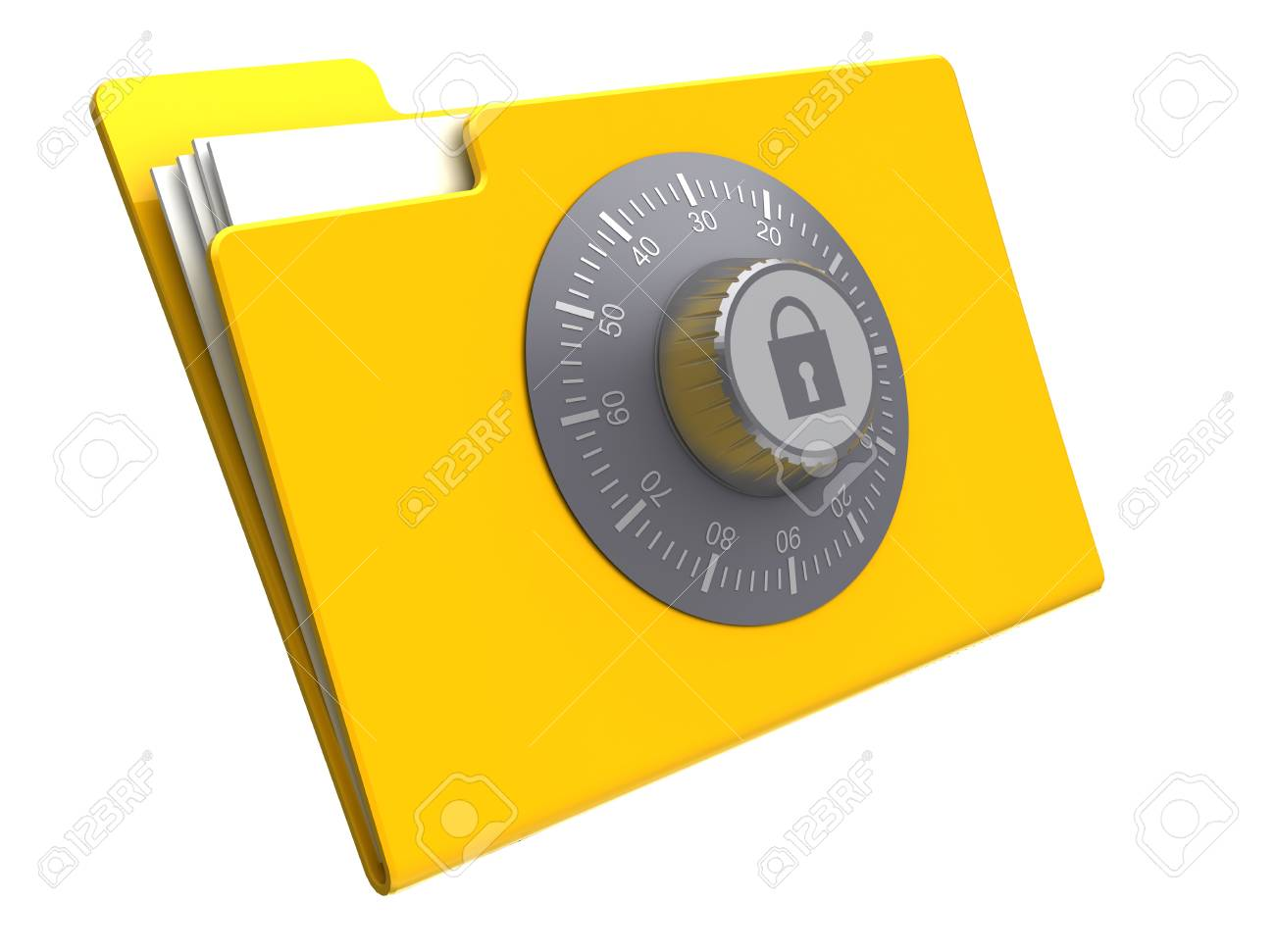 3d illustration of folder with combination lock, isolated over white background Stock Photo - 12942470
