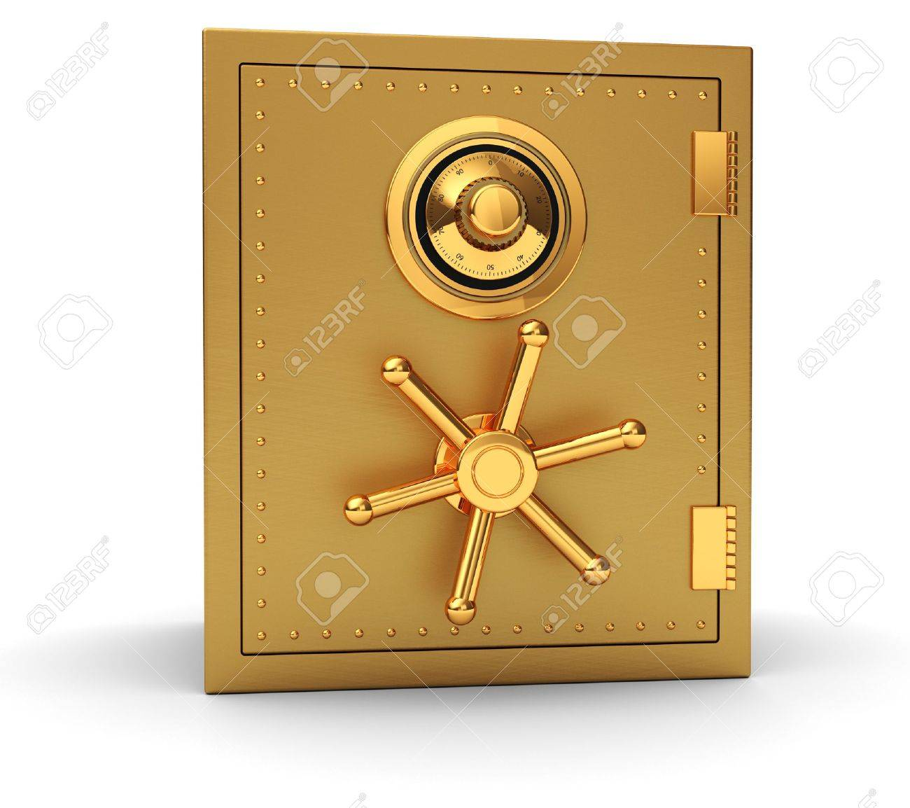 Big golden safe isolated on white background Stock Photo - 14674542