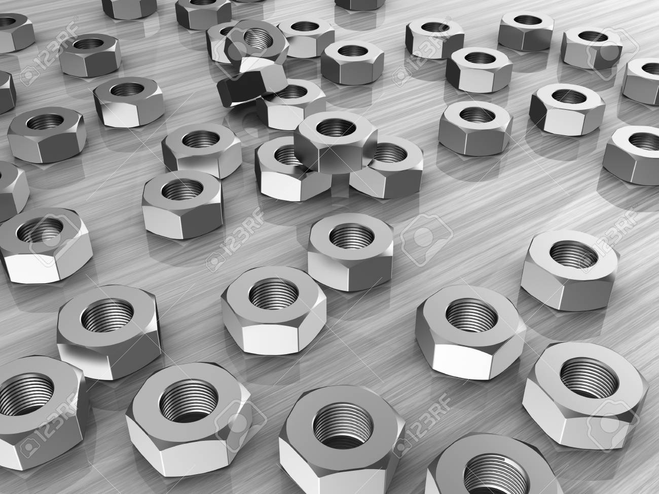 Metallic several screws over grey background Stock Photo - 15209575