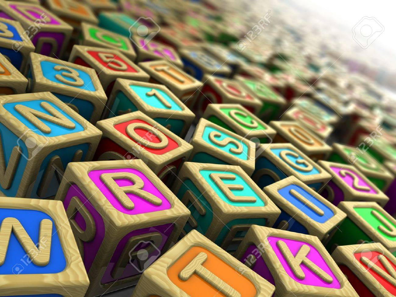 3d illustration  wooden cubes with letters and numbers Stock Illustration - 15209571