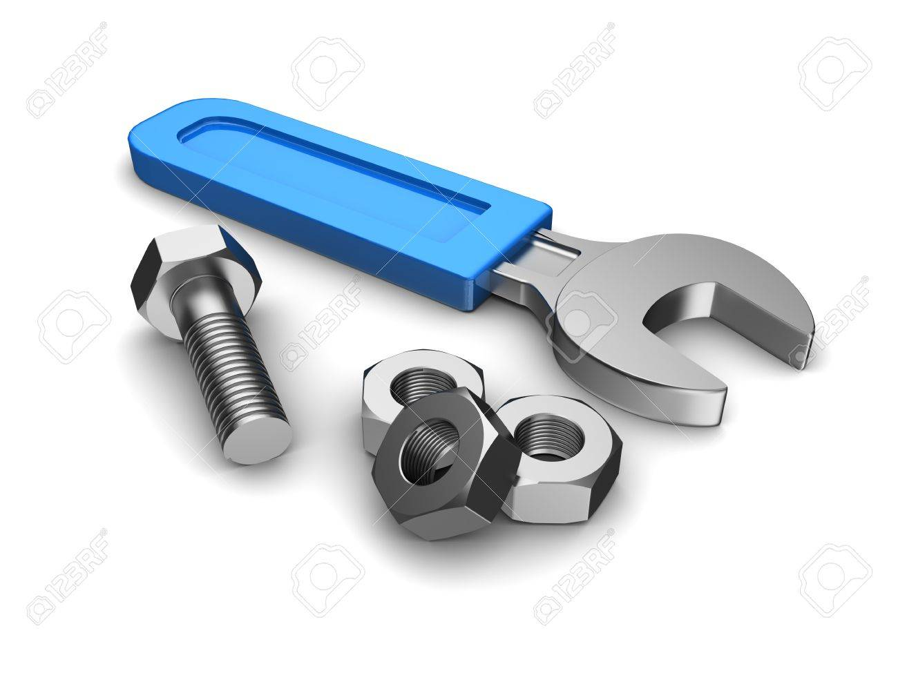 Repair service  wrench with blue handle, three screws and bolt Stock Photo - 15209544