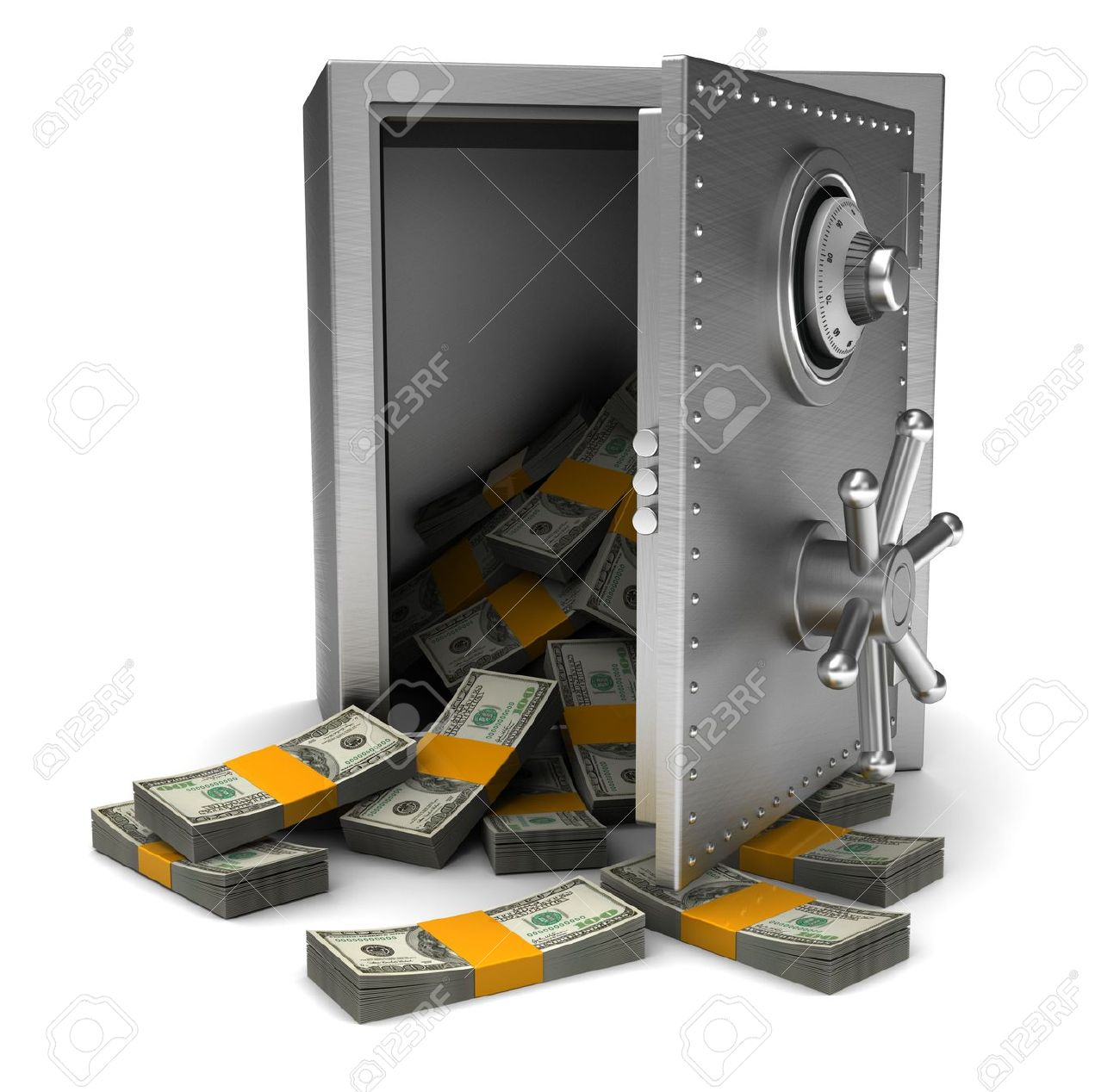 Money in open safe isolated on white background Stock Photo - 15128335