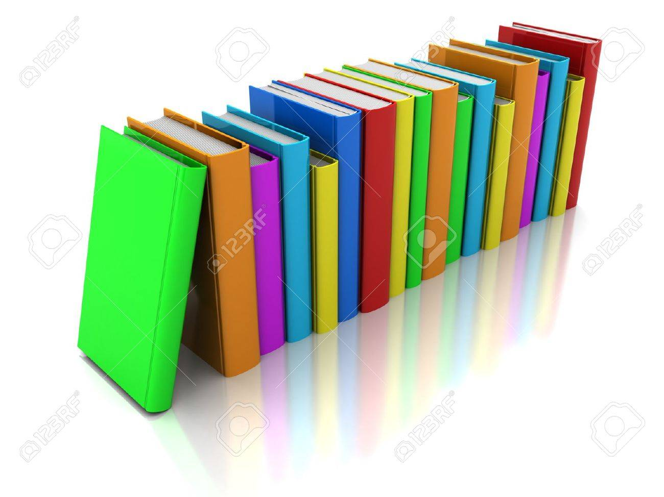 row of color books with green book in front on a white background stock photo - Books About The Color Green