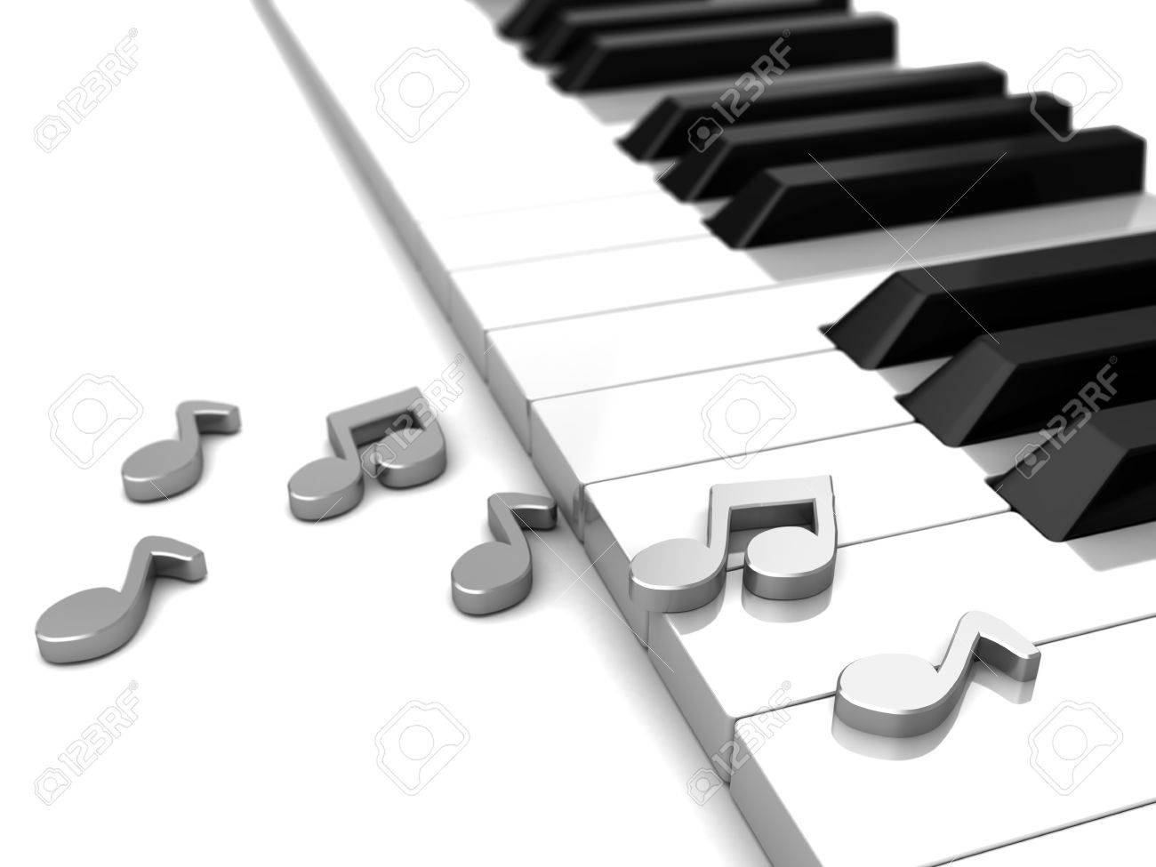 Modern Piano With Grey Music Notes, 3d Illustration Stock Photo ...