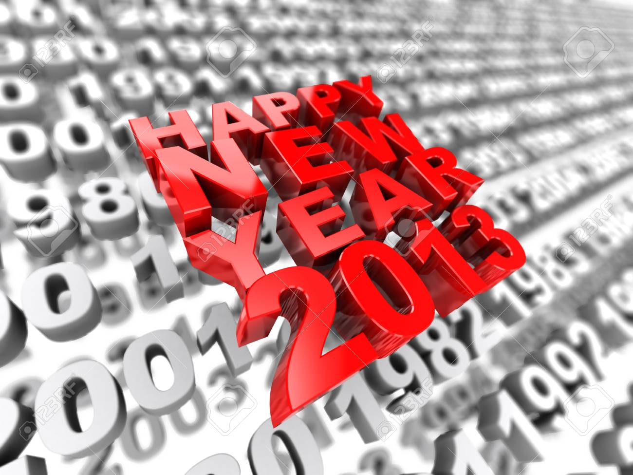 3d image happy new year 2013 on the background of grey numbers Stock Photo - 15707645