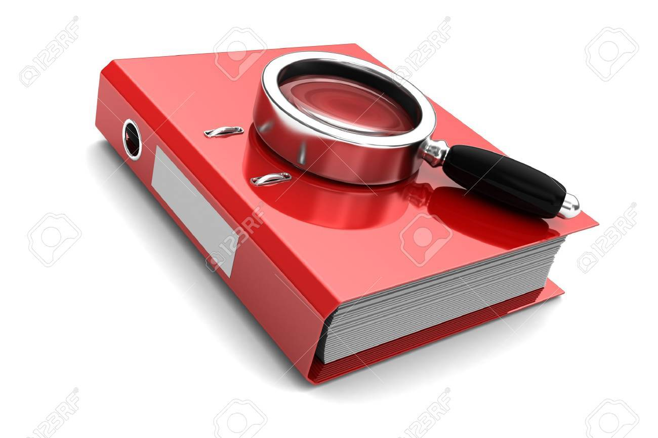 Red folder with magnifier above on it isolated on white background Stock Photo - 16290796