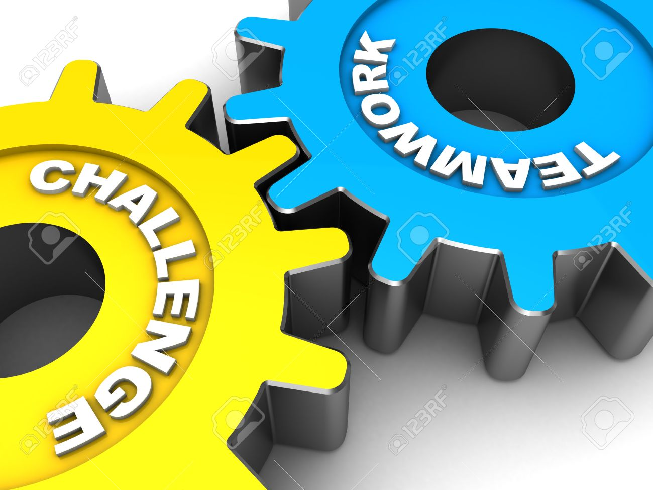 Color Gears With Words Teamwork And Challenges Stock Photo ...