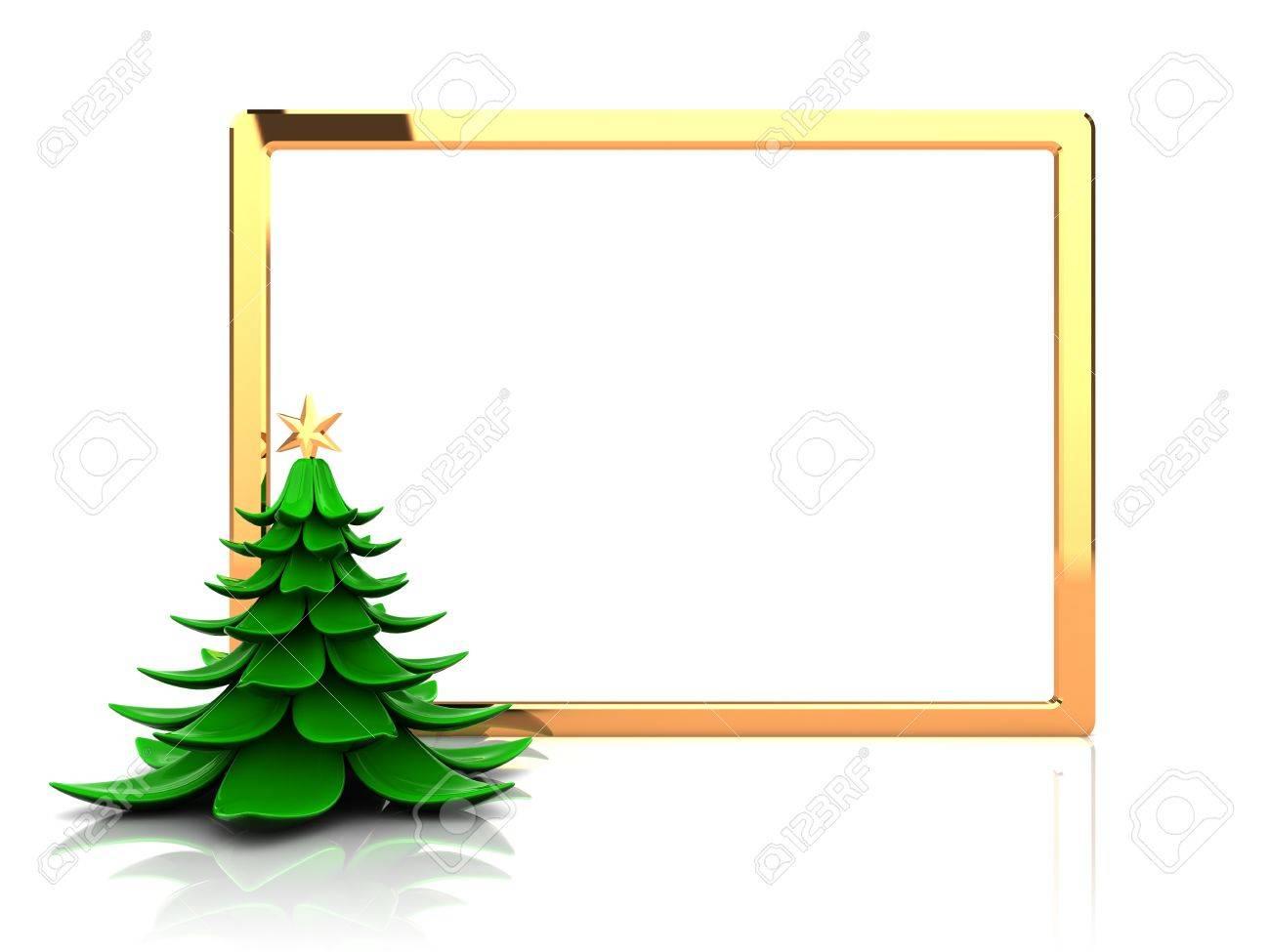 Marco Del Año Nuevo Con El árbol De Navidad, Imagen 3d Fotos ...