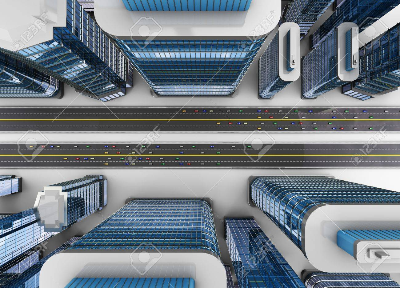 3d illustration of top view of city with roads and cars traffic Stock Photo - 16442785
