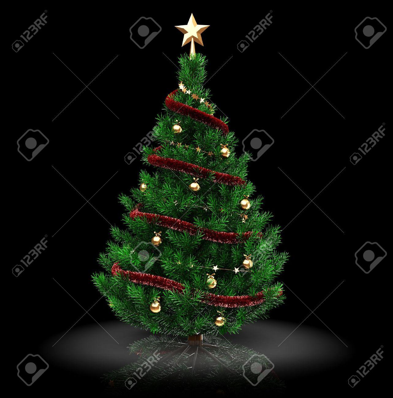 3d Ilustracin De rbol De Navidad Sobre Fondo Negro Fotos Retratos