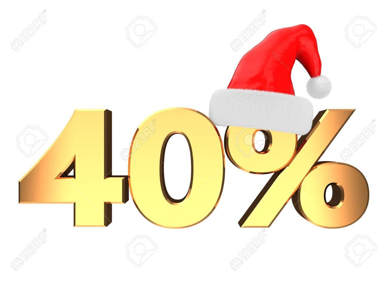 3D-Darstellung Von 40 Prozent Weihnachten Rabatt Zeichen, Isoliert ...