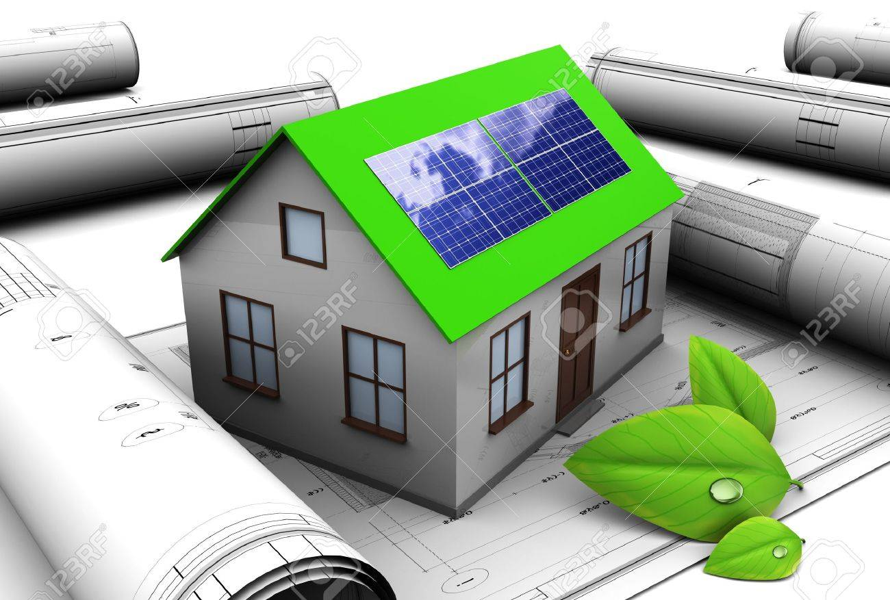 3d Illustration Of House Design With Solar Panel Stock Photo ...