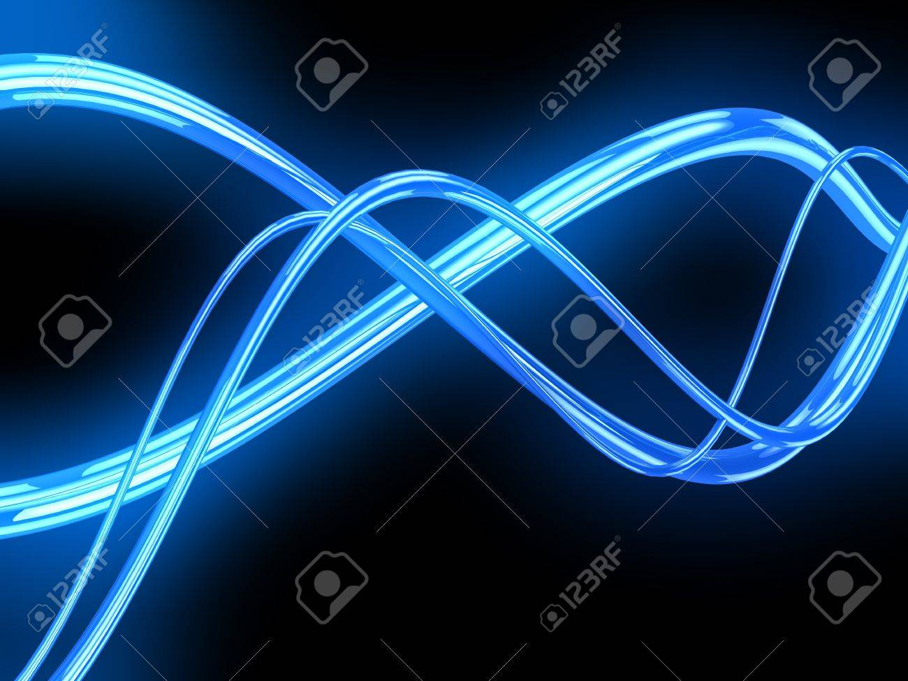 abstract 3d illustration of electric waves over black background Stock Illustration - 18172777