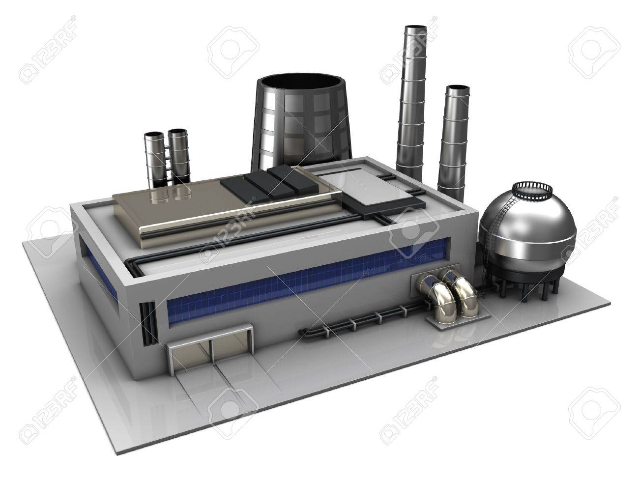 3d illustration of industrial building or factory over white background Stock Illustration - 18413460
