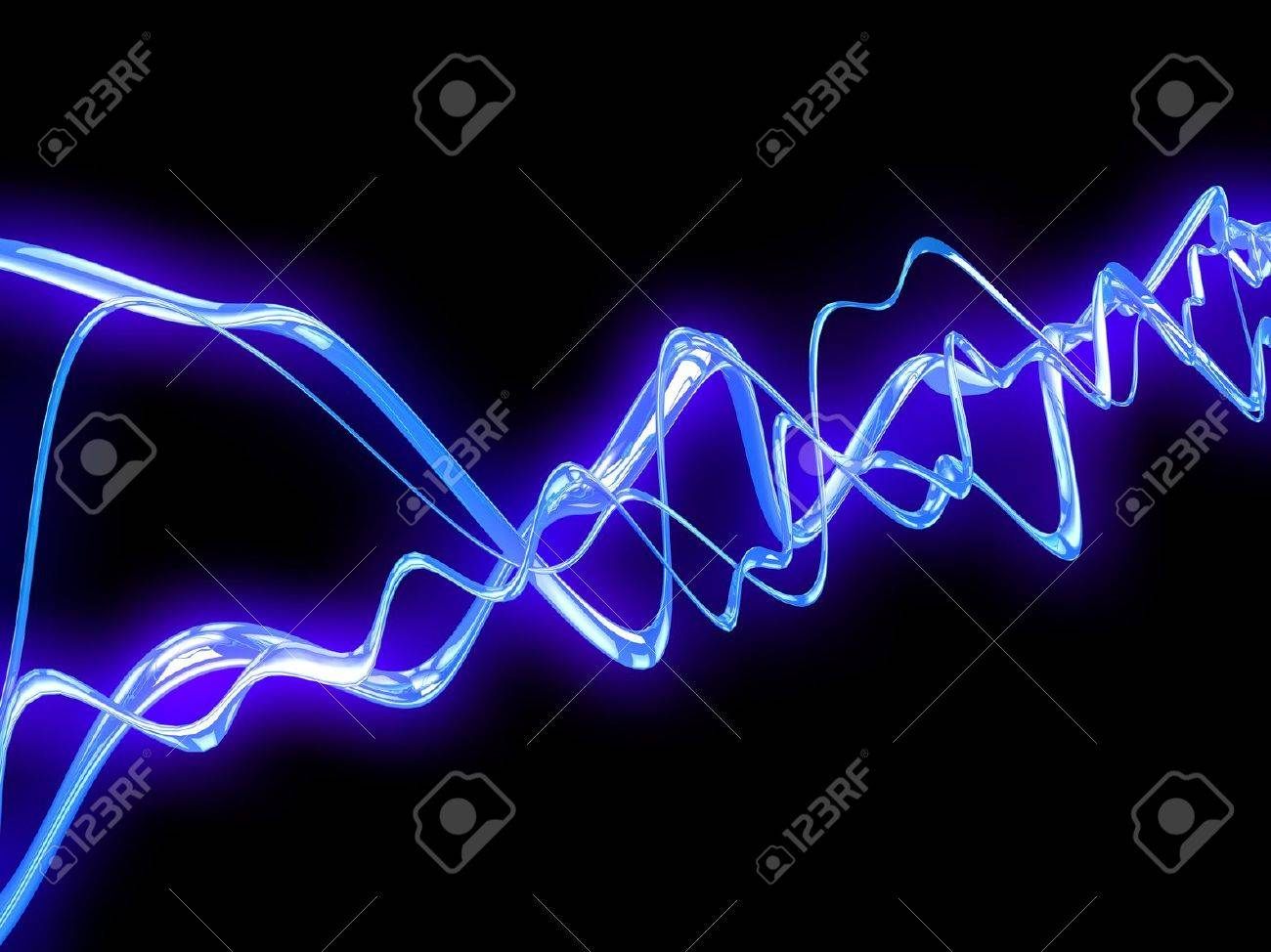 3d illustration of electric waves over black background Stock Photo - 18685959