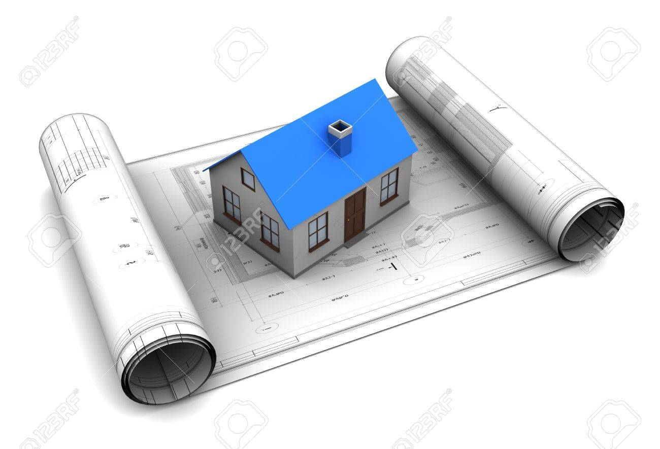 3d illustration of house model on blueprint roll stock photo 3d illustration of house model on blueprint roll stock illustration 18792725 malvernweather Images