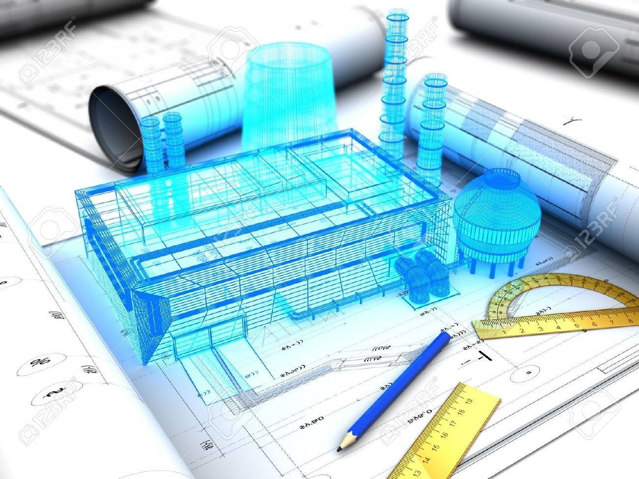 3d illustration of factory design concept - 18953909