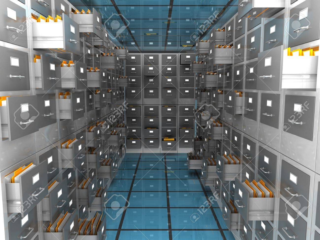 abstract 3d illustration of archiver room - 19090700