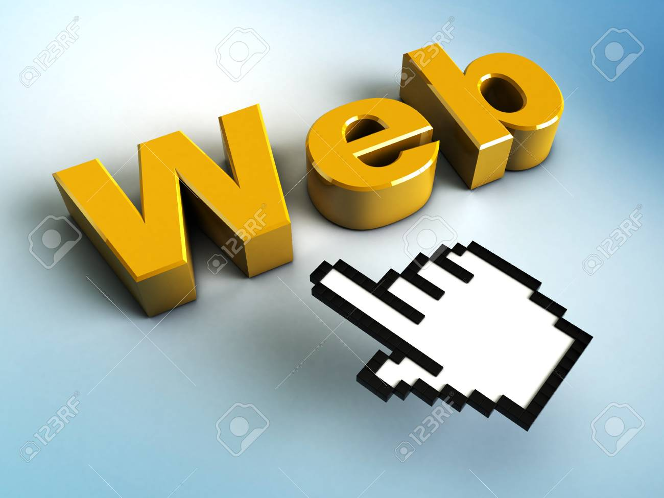 3d hand cursor points to a Web Stock Photo - 19090623