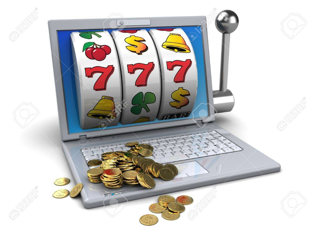 3d illustration of online jackpot concept - 19090682