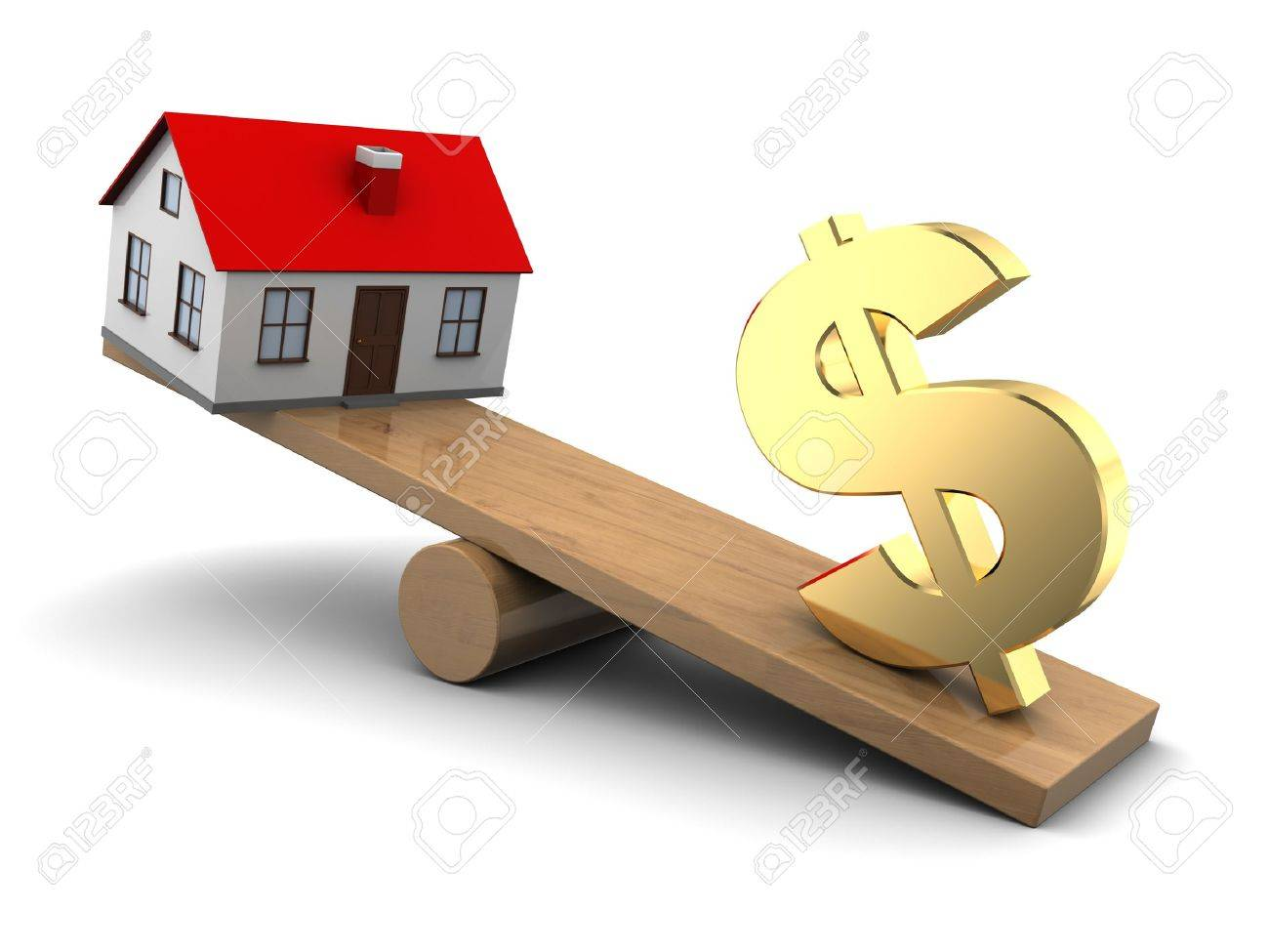 abstract 3d illustration of house and dollar seesaw - 19241716