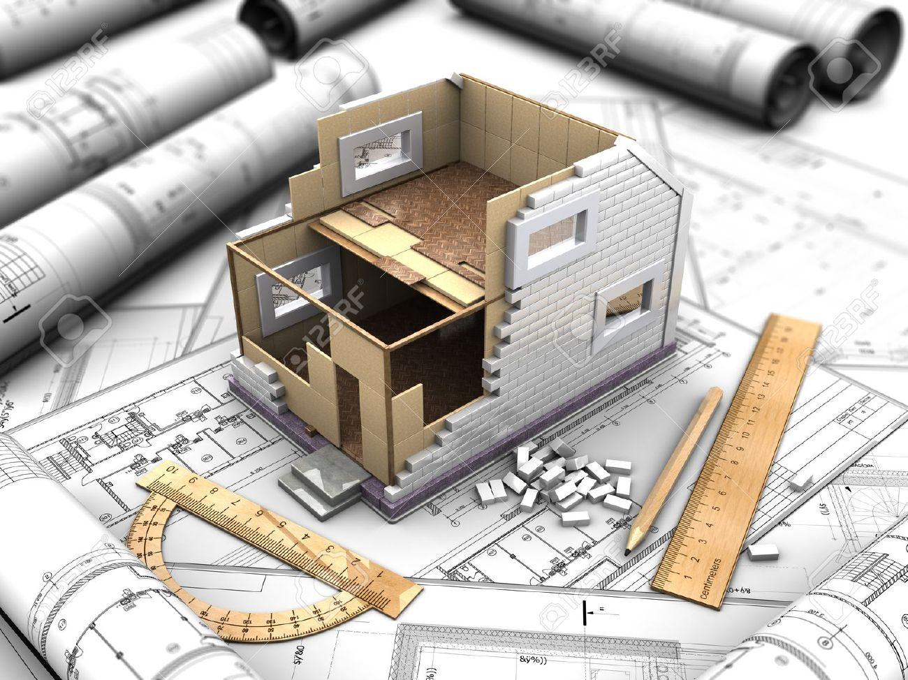 3d-darstellung von einem zweistöckigen haus planen und zeichnungen