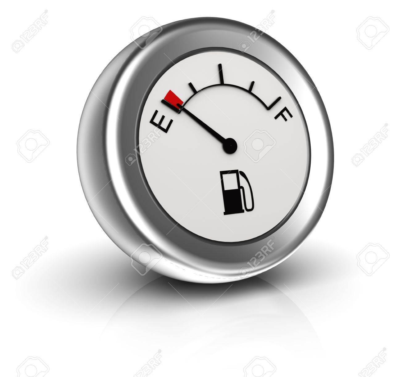 3d icon of fuel gauge indicates empty tank - 19719404