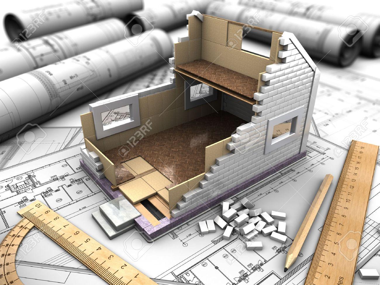 estructura d de los pisos de la casa en los planos de fondo foto de archivo