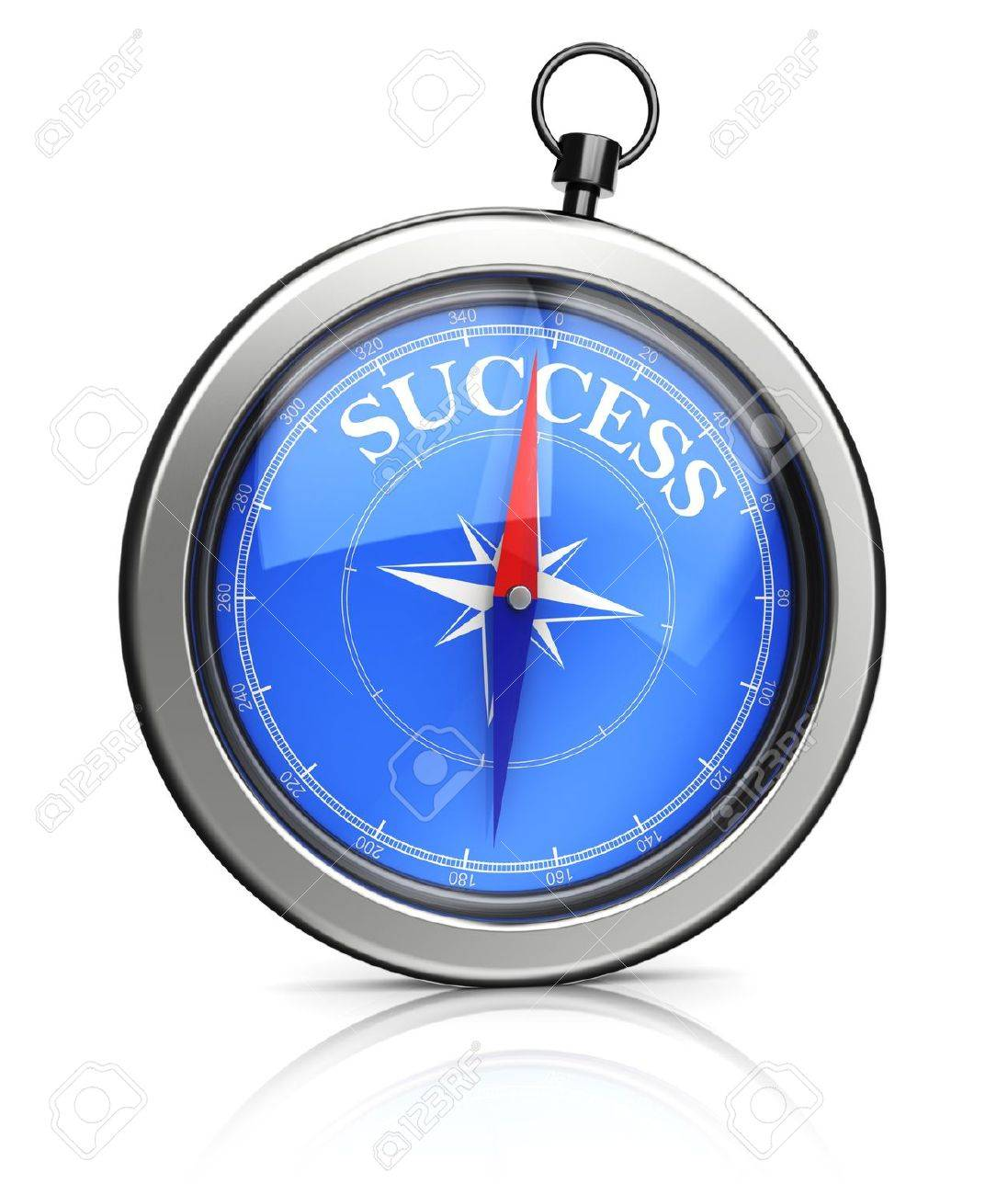 3d illustration of modern compass pointing to success - 20296883