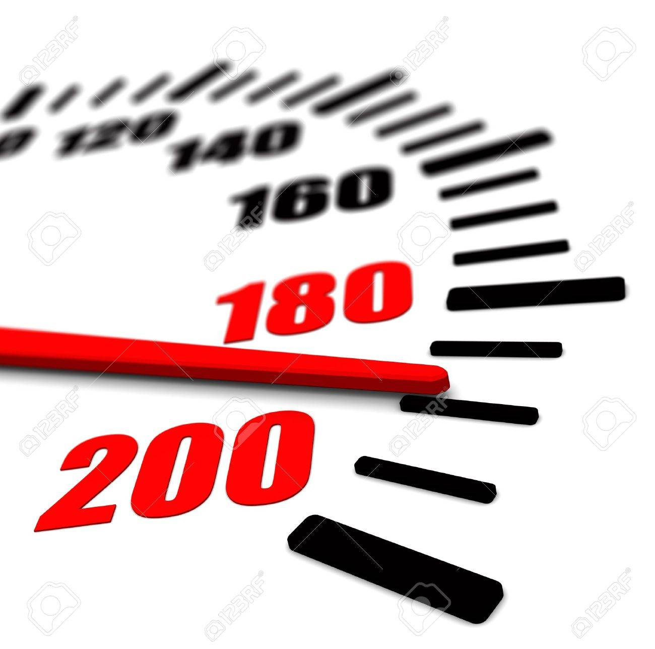 3d image of speedometer closeup red arrow - 20296810