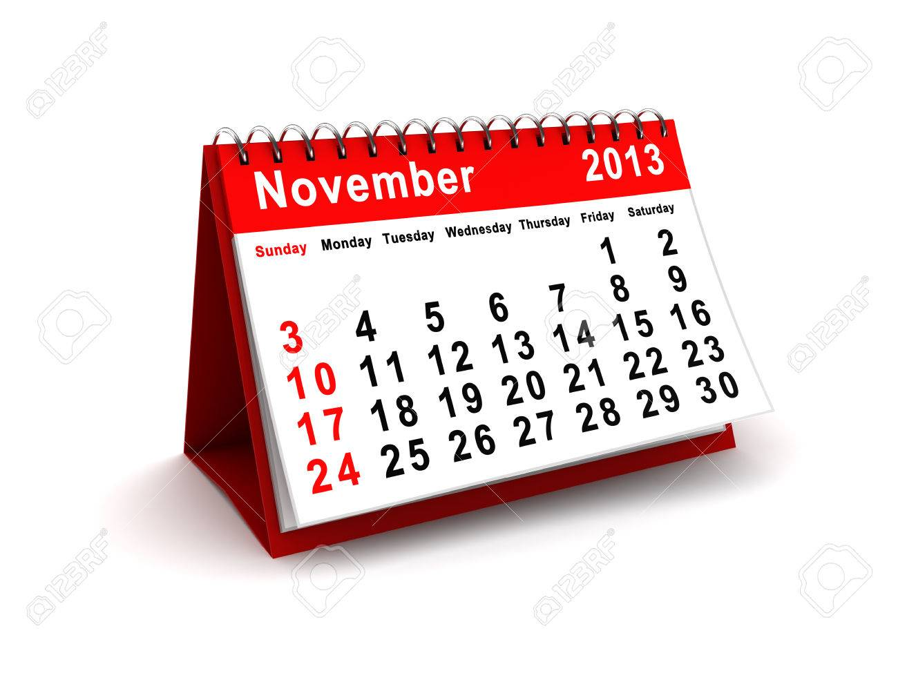 3d illustration of november 2013 calendar - 22920026